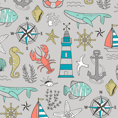 Nautical Doodle with whale,lighthouse,Anchor on Light Grey fabric by caja_design on Spoonflower - custom fabric