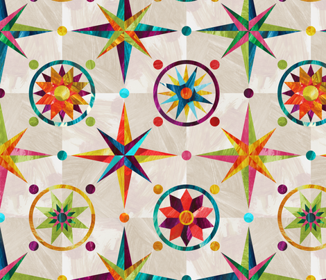 Mariner's Compass - Rainbow on Tea fabric by pinky_wittingslow on Spoonflower - custom fabric