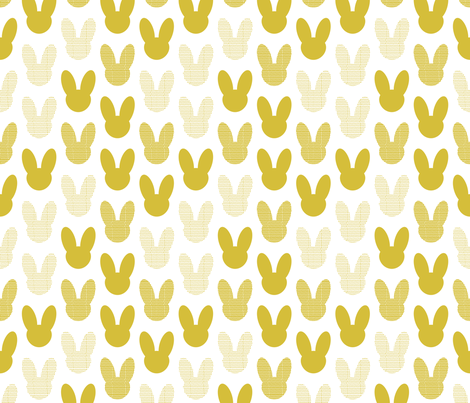 Abstract scandinavian style summer spring bunny ears in gender neutral mustard yellow fabric by littlesmilemakers on Spoonflower - custom fabric