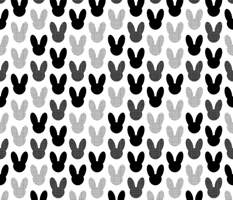 Abstract scandinavian style summer spring bunny ears in gender neutral black and white fabric by littlesmilemakers on Spoonflower - custom fabric