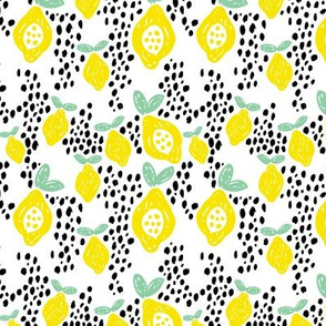 Cool scandinavian abstract topical fruit summer spring fabric green yellow