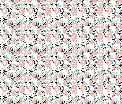 Cool scandinavian abstract topical fruit summer spring fabric mint pink fabric by littlesmilemakers on Spoonflower - custom fabric