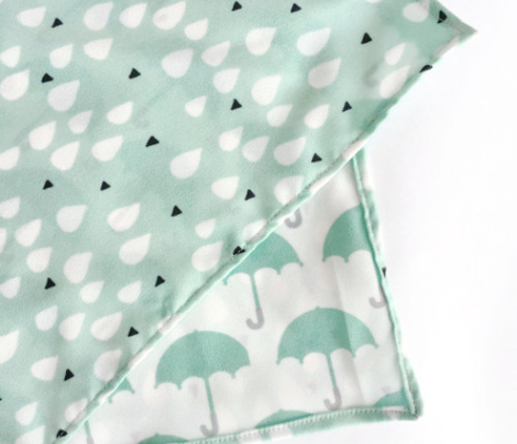 I love you in the rain vintage pastel umbrella fabric for cool kids and home textiles blue