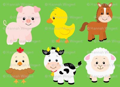 Farm Animals on Green