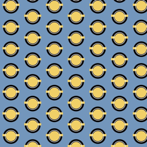 Circle Pattern, Nautical, Geometric, Blue, Gold
