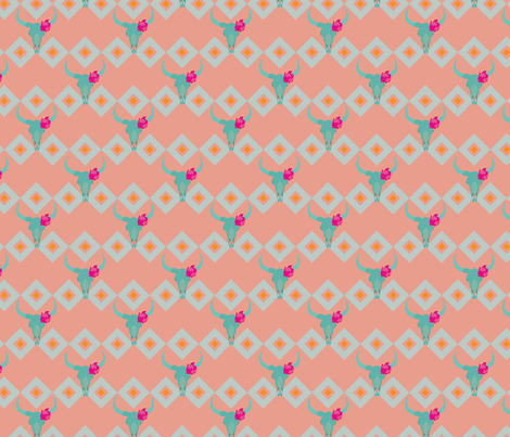 Desert Rose and Skull fabric by megancarroll on Spoonflower - custom fabric