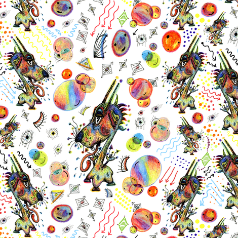 #SFDesignADay Pen and Ink Critter, large scale, white rainbow colorful fabric by amy_g on Spoonflower - custom fabric