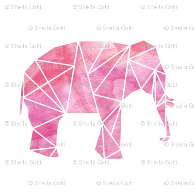 Geometric Elephant in Watercolor