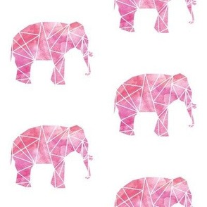 Geometric Elephant in Watercolor
