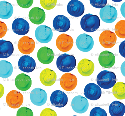 Multi Blue Watercolor Dots // Small