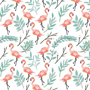 Coral Flamingos in Shade // Small