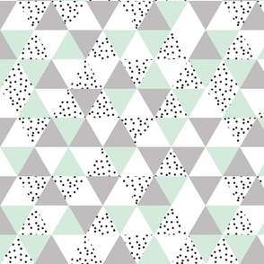 mint + gray + b/w dots triangles