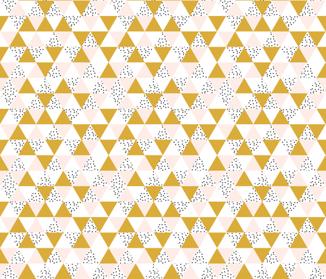 triangle wholecloth // pale pink + gold + b/w dots // small fabric by ivieclothco on Spoonflower - custom fabric