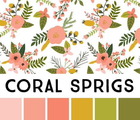 Coral Sprigs and Blooms Coordinate Chevron 1
