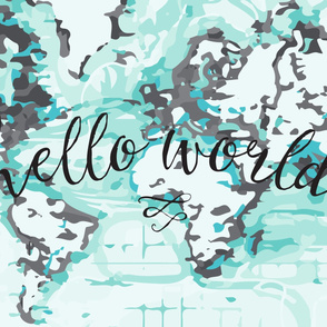 Hello World Changing Pad Cover // Gray