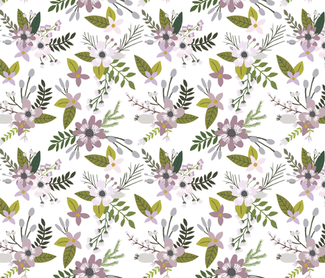 Lavender Sprigs and Blooms Oversized fabric by ivieclothco on Spoonflower - custom fabric