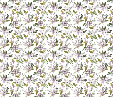 Lavender Sprigs and Blooms fabric by ivieclothco on Spoonflower - custom fabric