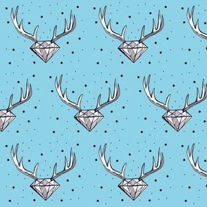 Diamond Antlers on blue