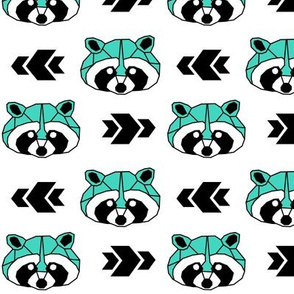 Raccoon >> Woodland Geometric Kids Baby Nursery Illustration >> Turquoise and Black
