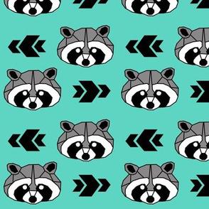 Raccoon >> Woodland Geometric Kids Baby Nursery Illustration >> Black, Grey, and Turquoise