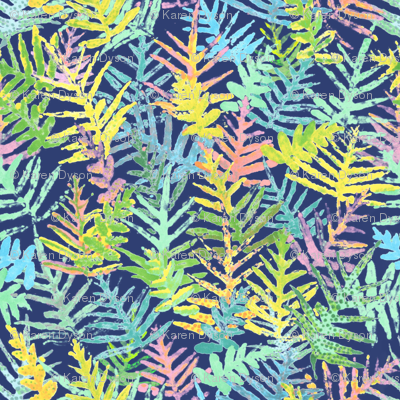 Watercolor Laua'e Ferns on Indigo 300