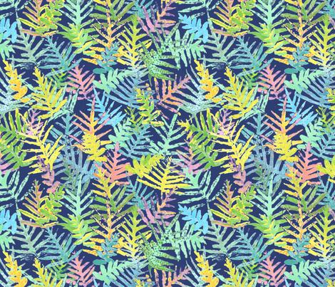 Watercolor Laua'e Ferns on Indigo 300 fabric by kadyson on Spoonflower - custom fabric