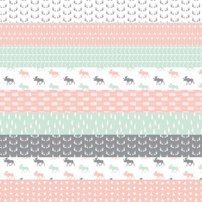 Wholecloth Moose Quilt top // Pink/Grey/Mint