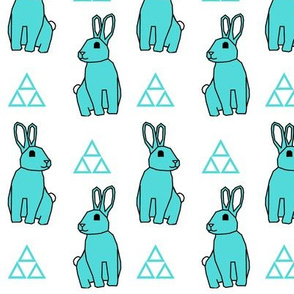 Turquoise Bunny with Triangles