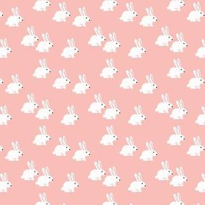 Sweet pastel bunny rabbit kids pastel scandinavian style illustration print pink XS