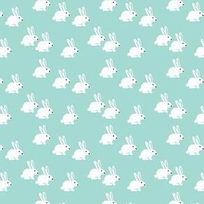 Soft pastel white bunny rabbit illustration for spring and easter kids design mint XS