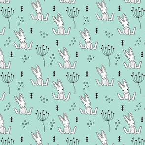 Adorable little baby bunny geometric scandinavian style rabbit for kids gender neutral mint XS