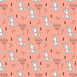 Adorable little baby bunny geometric scandinavian style rabbit for kids soft coral XS