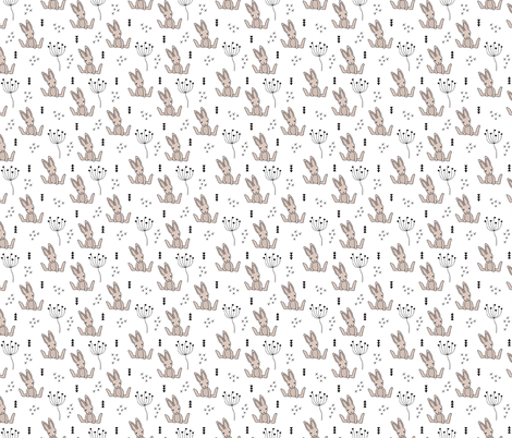 Adorable little baby bunny geometric scandinavian style rabbit for kids gender neutral black and white XS fabric by littlesmilemakers on Spoonflower - custom fabric