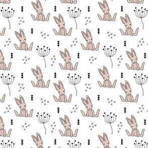 Adorable little baby bunny geometric scandinavian style rabbit for kids gender neutral black and white XS