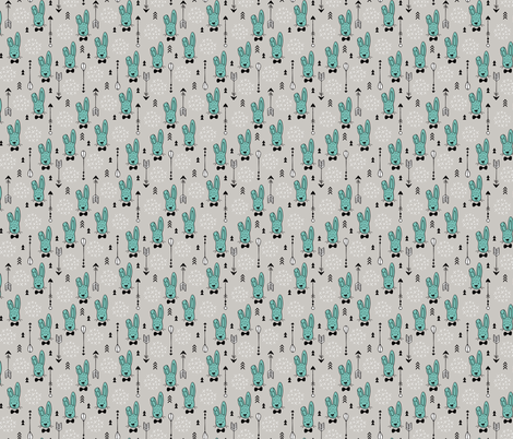 Cool hipster white bunny and geometric arrows spring easter design in gender neutral pastel blue XS fabric by littlesmilemakers on Spoonflower - custom fabric