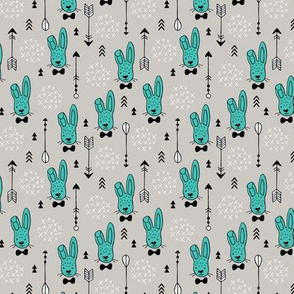 Cool hipster white bunny and geometric arrows spring easter design in gender neutral pastel blue XS