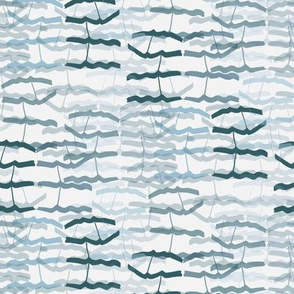 Abstract Blue Gray grey Bird Feather || Teal green Waves water nautical ocean beach vacation_Miss Chiff Designs