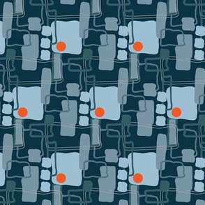 Retro Abstract Slate Sky Blue Squares orange dots spots _Miss Chiff Designs