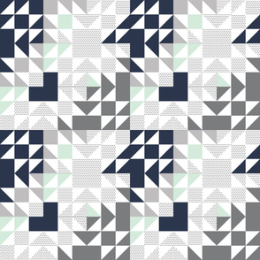 navy + mint + gray puzzle wholecloth //  small