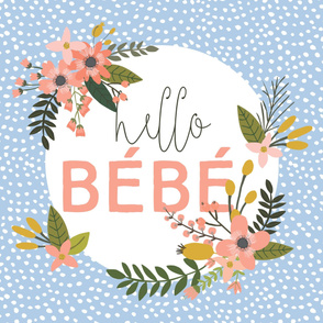 Coral Sprigs and Blooms Bébé Blanket // Scalloping Dots IV