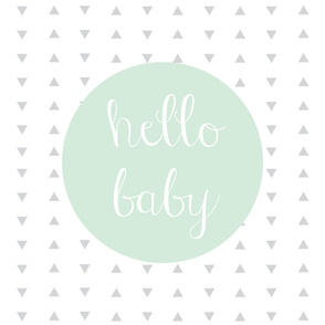Hello Baby Mint Gray Baby Blanket