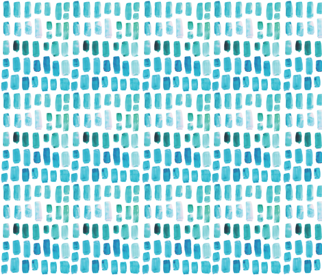 Aquamarine Watercolor Mosaic fabric by ivieclothco on Spoonflower - custom fabric