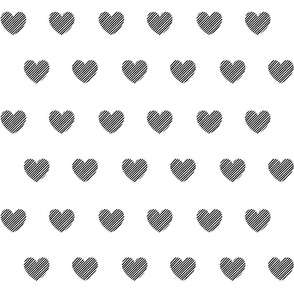 Black Diagonal Stripes Hearts