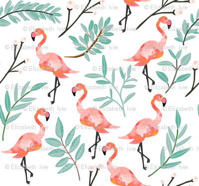 Coral Flamingos in Shade