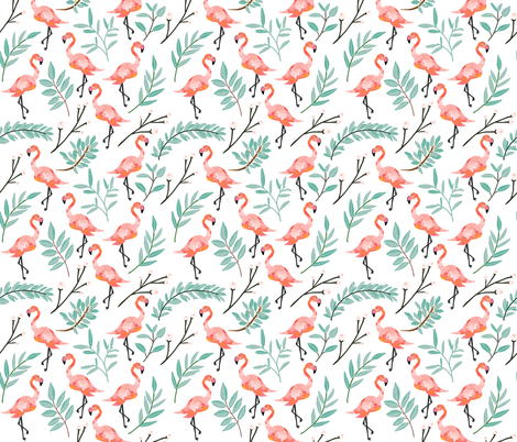 Coral Flamingos in Shade fabric by ivieclothco on Spoonflower - custom fabric