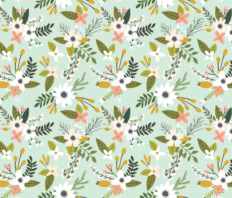Mint Sprigs and Blooms // Oversized fabric by ivieclothco on Spoonflower - custom fabric