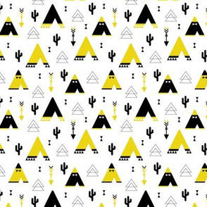 Teepee tent arrows and cactus garden cool kids geometric scandinavian style print gender neutral yellow XS