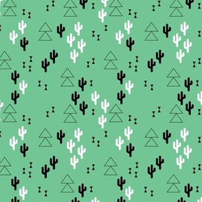 Geometric cactus scandinavian trend triangle design gender neutral green XS