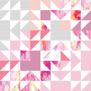 puzzle wholecloth // pink starburst