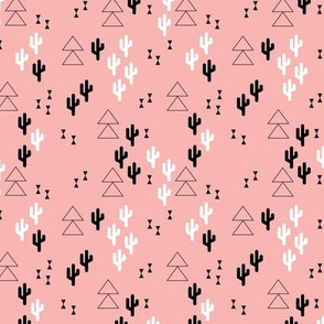 Geometric cactus scandinavian trend triangle design soft pink for girls XS